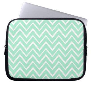 Mint green whimsical zigzag chevron pattern laptop sleeve