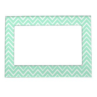 Mint green whimsical zigzag chevron pattern photo frame magnet