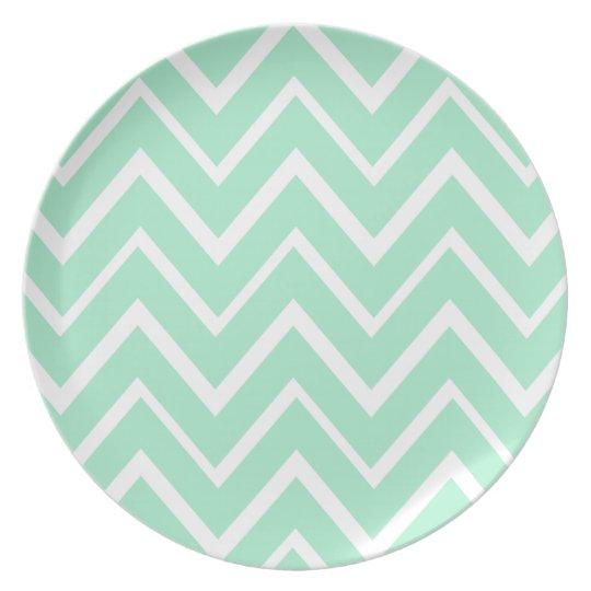 Mint green whimsical zigzag chevron pattern melamine plate