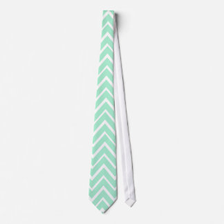 Mint green whimsical zigzag chevron pattern neck tie