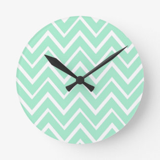 Mint green whimsical zigzag chevron pattern round clock