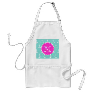 Mint Green White Anchors, Hot Pink Monogram Adult Apron