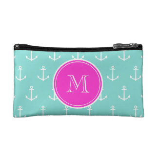Mint Green White Anchors, Hot Pink Monogram Cosmetic Bag