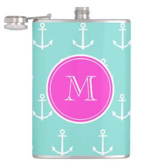 Mint Green White Anchors Hot Pink Monogram Hip Flask