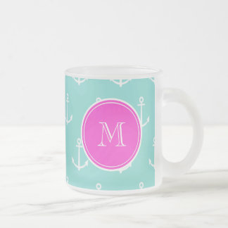 Mint Green White Anchors, Hot Pink Monogram Frosted Glass Coffee Mug
