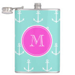 Mint Green White Anchors, Hot Pink Monogram Hip Flasks