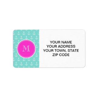 Mint Green White Anchors, Hot Pink Monogram Labels
