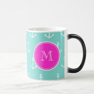 Mint Green White Anchors, Hot Pink Monogram Magic Mug