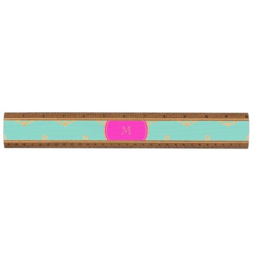 Mint Green White Anchors, Hot Pink Monogram Maple Ruler