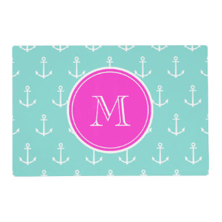 Mint Green White Anchors, Hot Pink Monogram Laminated Placemat