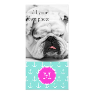 Mint Green White Anchors, Hot Pink Monogram Customized Photo Card