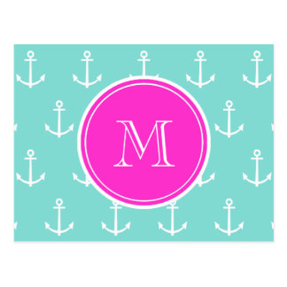 Mint Green White Anchors, Hot Pink Monogram Postcard