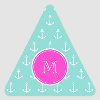 Mint Green White Anchors, Hot Pink Monogram Triangle Sticker