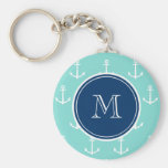 Mint Green White Anchors, Navy Blue Monogram Basic Round Button Keychain