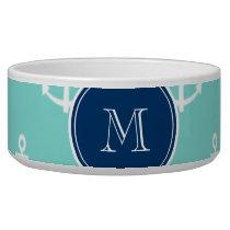 Mint Green White Anchors, Navy Blue Monogram Bowl