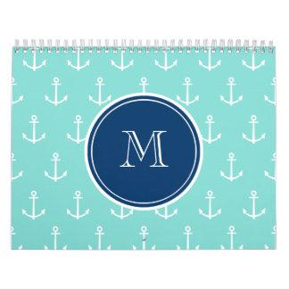 Mint Green White Anchors, Navy Blue Monogram Calendar