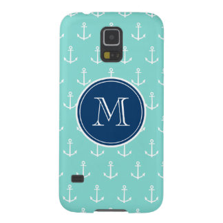 Mint Green White Anchors, Navy Blue Monogram Galaxy S5 Covers