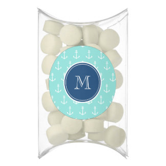 Mint Green White Anchors, Navy Blue Monogram Chewing Gum Favors