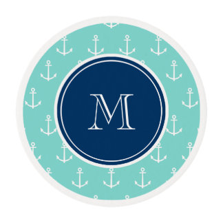Mint Green White Anchors, Navy Blue Monogram Edible Frosting Rounds