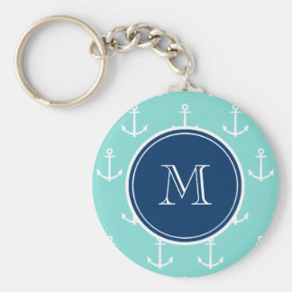 Mint Green White Anchors, Navy Blue Monogram Keychain