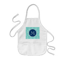 Mint Green White Anchors, Navy Blue Monogram Kids' Apron