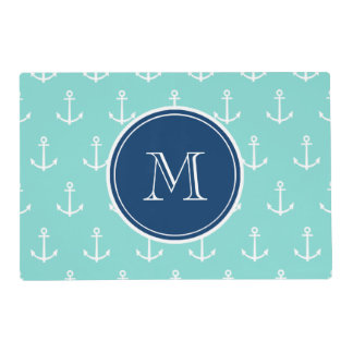 Mint Green White Anchors, Navy Blue Monogram Laminated Place Mat