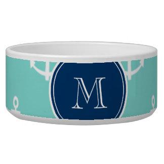 Mint Green White Anchors, Navy Blue Monogram Dog Bowls