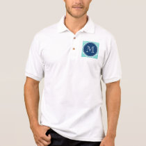 Mint Green White Anchors, Navy Blue Monogram Polo Shirt