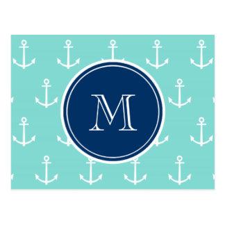 Mint Green White Anchors, Navy Blue Monogram Postcard