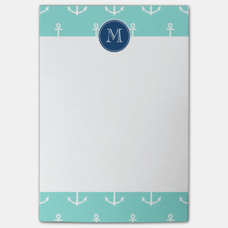 Mint Green White Anchors, Navy Blue Monogram Post-it® Notes