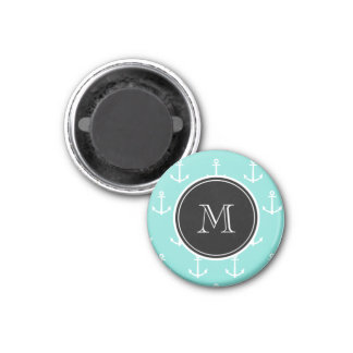 Mint Green White Anchors Pattern, Black Monogram 1 Inch Round Magnet