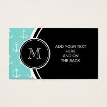 Mint Green White Anchors Pattern, Black Monogram Business Card