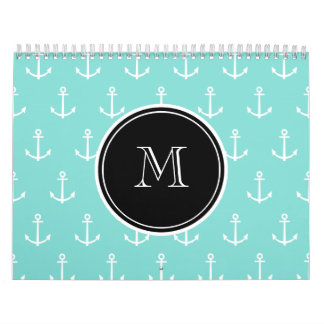 Mint Green White Anchors Pattern, Black Monogram Wall Calendars