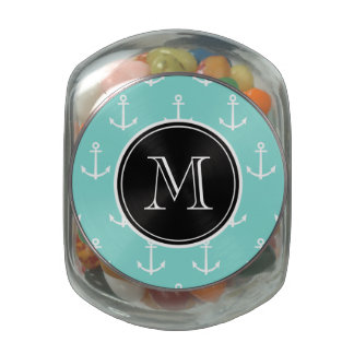 Mint Green White Anchors Pattern, Black Monogram Glass Candy Jars