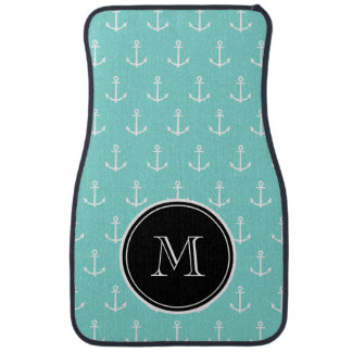 Mint Green White Anchors Pattern, Black Monogram Car Mat