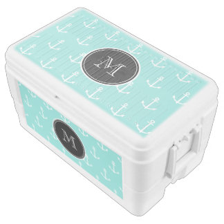 Mint Green White Anchors Pattern, Black Monogram Cooler