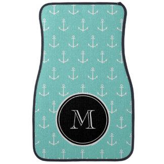 Mint Green White Anchors Pattern, Black Monogram Floor Mat