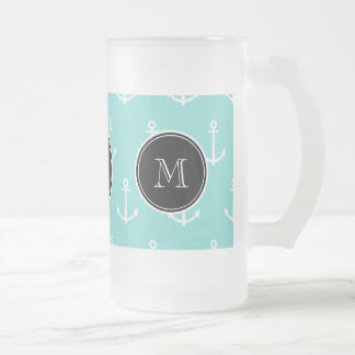 Mint Green White Anchors Pattern, Black Monogram Frosted Glass Beer Mug