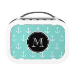 Mint Green White Anchors Pattern, Black Monogram Lunchboxes