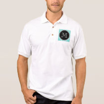 Mint Green White Anchors Pattern, Black Monogram Polo Shirt