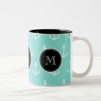 Mint Green White Anchors Pattern, Black Monogram Two-Tone Coffee Mug