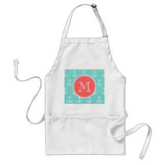 Mint Green White Anchors Pattern, Coral Monogram Adult Apron
