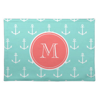 Mint Green White Anchors Pattern, Coral Monogram Cloth Place Mat
