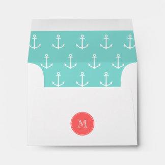 Mint Green White Anchors Pattern, Coral Monogram Envelope