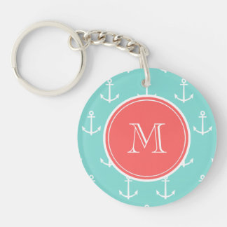 Mint Green White Anchors Pattern, Coral Monogram Keychain