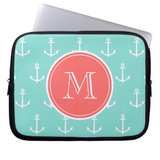 Mint Green White Anchors Pattern, Coral Monogram Laptop Computer Sleeves