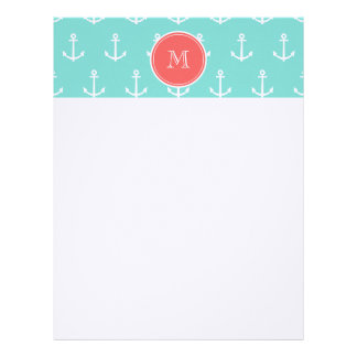 Mint Green White Anchors Pattern, Coral Monogram Letterhead
