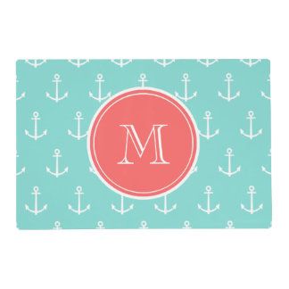 Mint Green White Anchors Pattern, Coral Monogram Laminated Placemat