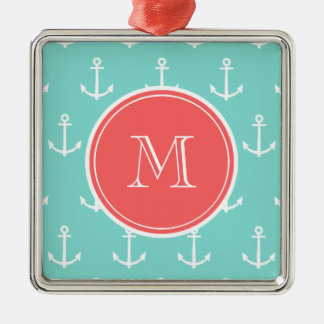 Mint Green White Anchors Pattern, Coral Monogram Christmas Ornaments