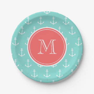 Mint Green White Anchors Pattern, Coral Monogram Paper Plate